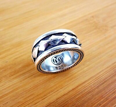 $139.97 • Buy Sterling Silver 925 Mens Ring Biker Designer High Quality Cable Cigar Band Sizes
