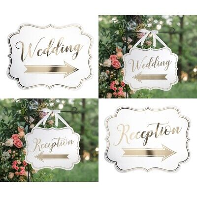 Wedding Signs Reception Ceremony Arrow Direction Directional Hanging Decorations • 13.67£