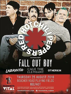 $14.51 • Buy Red Hot Chili Peppers / Fall Out Boy / Labrinth 2016 Belfast Concert Tour Poster