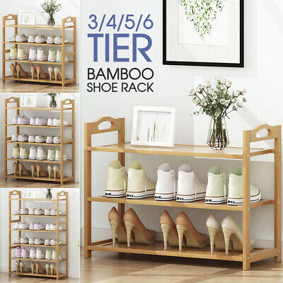 AU19.98 • Buy 3 4 5 Tiers Layers Bamboo Shoe Rack Storage Organizer Wooden Shelf Stand Shelves