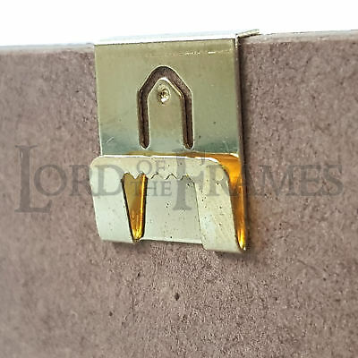 Brass Neat Sawtooth Single Clip Over Hangers 2mm Board Picture Frame Hanging • 2.25£
