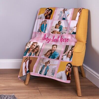 £26.99 • Buy Personalised Gingham Pink Square Soft Photo Fleece Throw Blanket