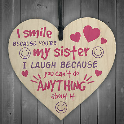 £3.99 • Buy Sister Smile Big/Little Shabby Chic Gift Wooden Hanging Heart Plaque Love Sign