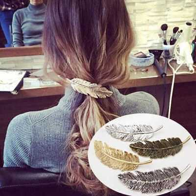 Fashion Women Leaf Feather Hair Clip Hairpin Barrette Bobby Pin Accessories Pro. • 1.59£