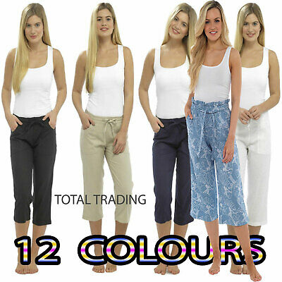 £11.99 • Buy Ladies Linen Cropped Trousers Womens 3/4 Length Shorts UK Size 10 12 14 16 18 20