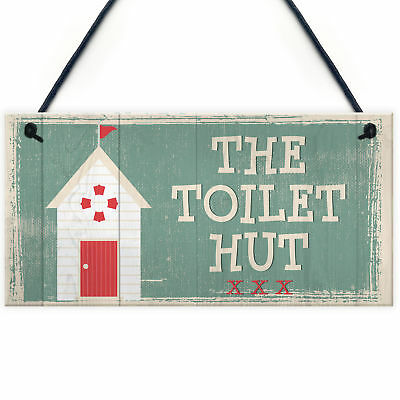 The Toilet Hut Shabby Chic Bathroom Sign Seaside Plaques Beach Nautical Gifts • 3.99£