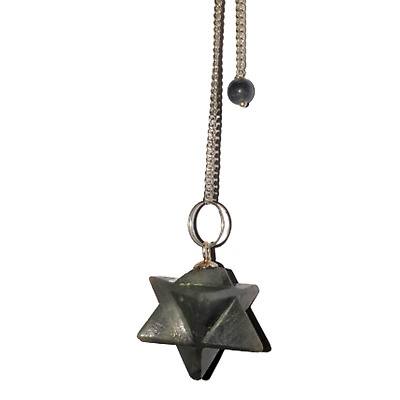 Gemstone Merkaba / Star Pendulum With Chain - Green Jade - Balancing • 6.50£