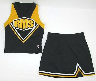 £24.07 • Buy Real Cheerleader Uniform Outfit Costume Black Gold Sizes 30-36  Top 24-30 Skirt