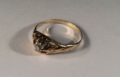 $325 • Buy Antique 18K Yellow Solid Gold And Diamond Ring  Sz 7 To 7 1/4