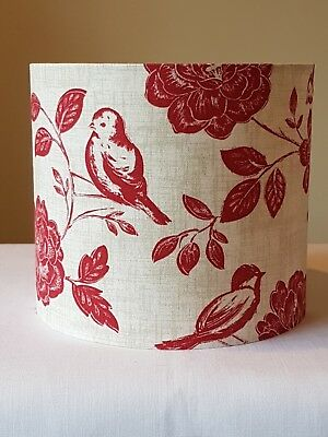 £23.99 • Buy HANDMADE FABRIC LAMPSHADE 20cm RED ILIV BIRD GARDEN COTTAGE COUNTRY FARM FLORAL