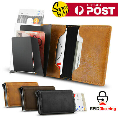 AU11.95 • Buy New Leather Credit Card Holder Men's Money Cash Wallet Clip RFID Blocking Purse