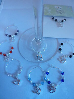 Party Wine Glass Charm Birthday Age 13th 16th 18th 21st 30th 40th 50th,60th,65th • 1.10£