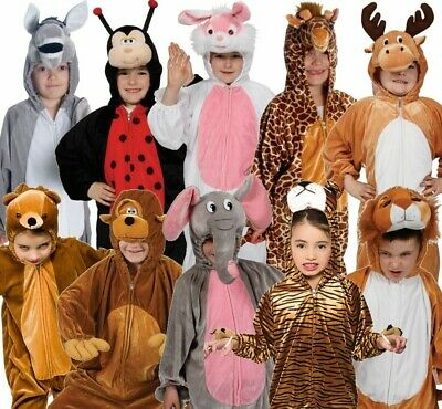 Kids Toddlers Animal Costume Boy Girl Zoo Fancy Dress Jumpsuit Kids Book Day • 14.49£