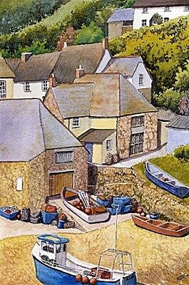 £12.99 • Buy Cadgwith Cove Cornwall Art Print From Watercolour Painting By Alex Pointer