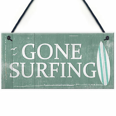 Gone Surfing Hanging Plaque Nautical Decor Beach Seaside Chic Home Sign Gifts • 3.99£
