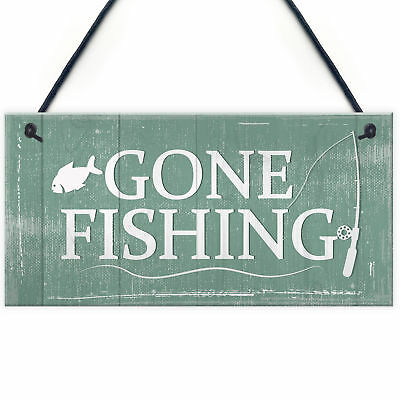 £3.99 • Buy Gone Fishing Hanging Plaque Nautical Sign Dad Grandad Birthday Gift House Plaque