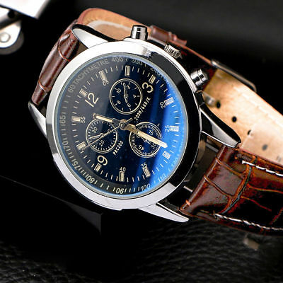 AU2.79 • Buy Men's Leather Military Casual Analog Quartz Wrist Watch Business Watches Gifts