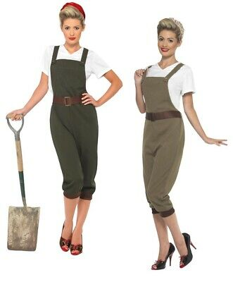 1940's Land Girl Costume Ladies WW2 Munitions Fancy Dress Army Outfit S-XL • 31.99£