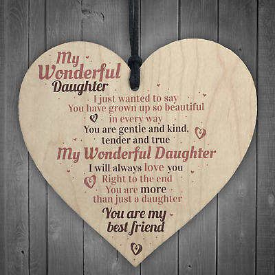 £3.99 • Buy Wonderful Daughter Wooden Heart Sign Mum Daughters Plaque Special Birthday Gifts
