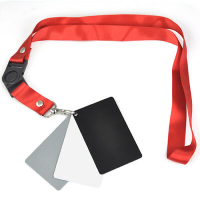 3in1 Digital 18% Gray/White/Black Card Set Photography Exposure Balance Strap • 3.99£