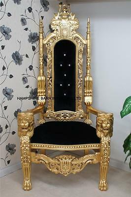 Ornate Large Lion King Throne Chair Gold & Black Velvet Home Stage Event Dining • 1,100£