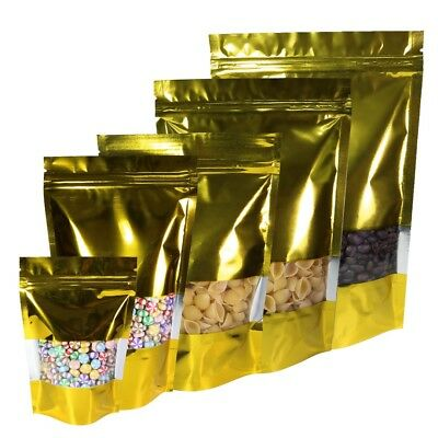 Golden Grip Seal Bags Stand Up Gusset Pouch Packing W/ Clear Window BPA Free • 15.99£