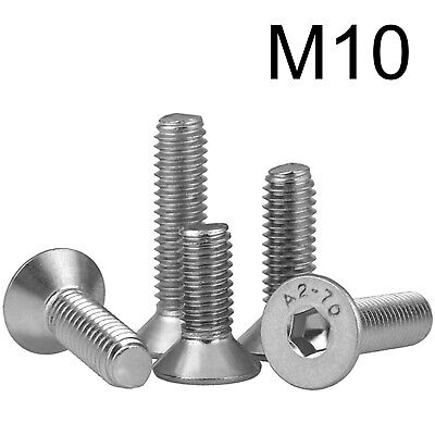 £2.95 • Buy STAINLESS STEEL M10 COUNTERSUNK BOLTS High Tensile Hex Head A2 Allen Key Screws