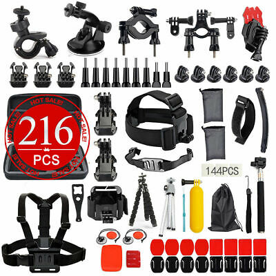 AU32.95 • Buy GoPro 8 7 6 5 4+ 216pcs Accessories Pack Case Chest Head Monopod Float Mount AU