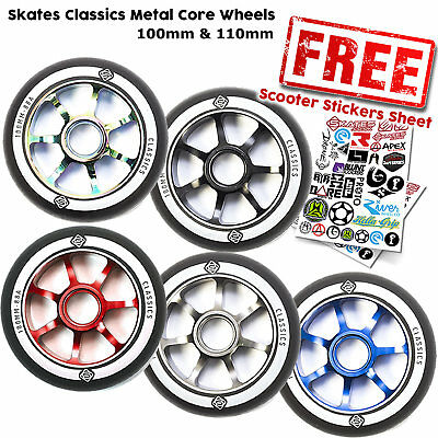 Skates Classic 100mm / 110mm Metal Core Stunt Scooter Wheels - All Colours • 8.95£