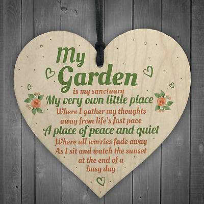 £3.99 • Buy My Garden Gardening Shed Summer House Wood Shabby Chic Heart Sign Wall Plaque