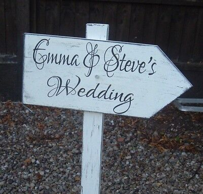 £15.99 • Buy Shabby & Chic Wedding Arrow Sign Large Personalised This Way Venue Decoration