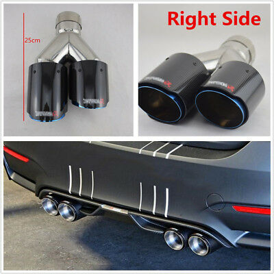$ CDN179.98 • Buy 63-89mm Gloss Real Carbon Fiber+Stainless Steel Car Dual Exhaust Pipe Right Side