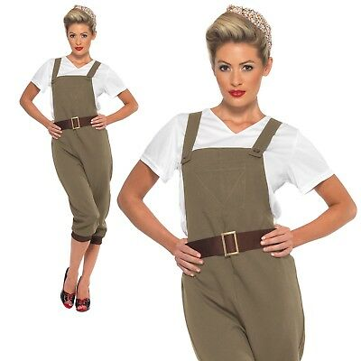 1940's Land Girl Costume Ladies WW2 Munitions Fancy Dress Army Outfit UK 8-18 • 31.99£