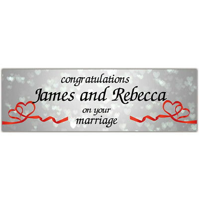 2 Personalised Wedding Engagement Banner Party Decoration Poster Just Married • 3.99£