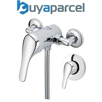 Chrome Single Lever Shower Mixer Valve Exposed Concealed -150mm Pipe Replacement • 39.99£