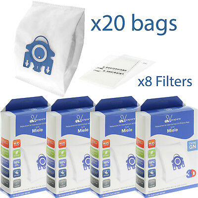 20 X GN Microfibre Bags & Filters For Miele Complete C2 C3 Powerline Ecoline • 13.99£