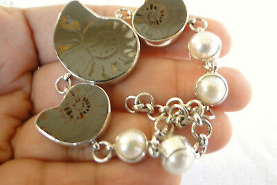 $89 • Buy Fossil Ammonite White Mabe Pearl 925 Sterling Silver Link Bracelet