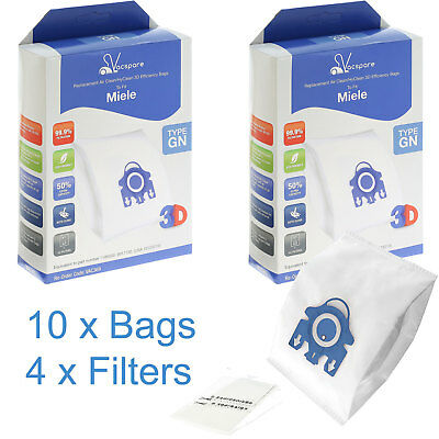 10 X GN 3D Microfibre Bags & Filters For Miele Classic C1 Vacuum Cleaners • 9.49£