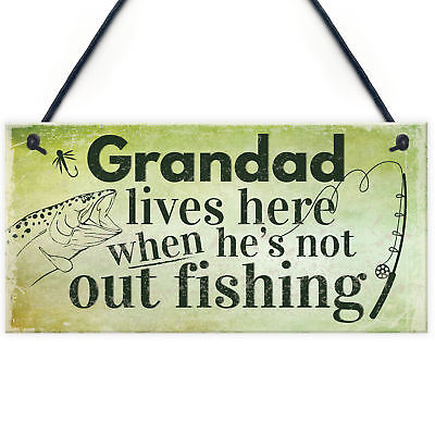 £3.99 • Buy Grandad Lives Here CARP Fishing Hanging Sign Fathers Day Dad Gone Fishing Gifts