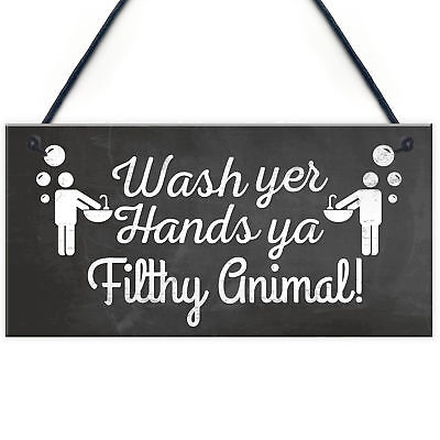 £3.99 • Buy Bathroom Toilet Sign Decor Funny Wash Your Hands Humouros Wall Plaque Home Gift