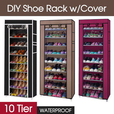AU18.99 • Buy 10 Tier Shoes Cabinet Storage Organizer Shoe Rack Portable Wardrobe With Cover