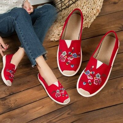 Womens Chinese Style Embroidered Pattern Loafers Casual Canvas Flat Heels Shoes • 8.79£