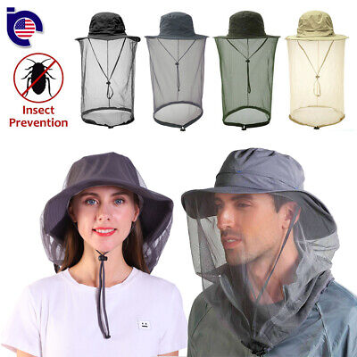 $12.99 • Buy Men Women Mosquito Head Face Net Hat Boonie Hat Sun Cap Hidden Mesh Protection