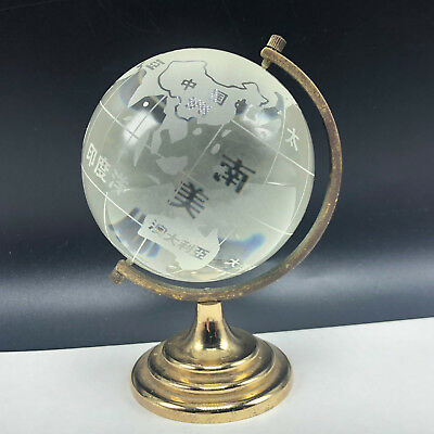 ASIAN GLASS GLOBE Crystal Gold Base Paperweight Japan Earth Figurine Celestial • 24.25$