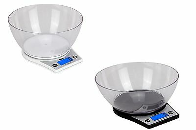 Electronic Digital 5000/1g Kitchen Cooking Black/White With Bowl Weighing Scales • 8.40£