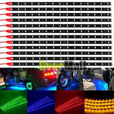 $10.59 • Buy 6-12Pack DC 12V Waterproof 1Ft 15LED Strip Underbody Light With 6  Wires 4 Motor