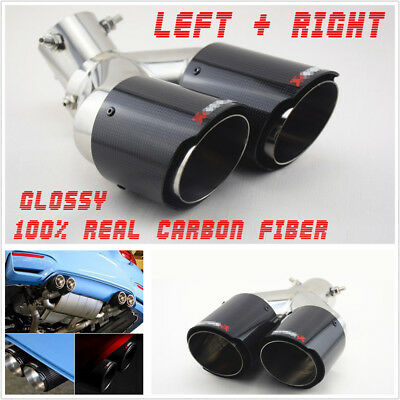 $ CDN249.61 • Buy Pair 63mm Inlet 89mm Outlet Auto Dual Exhaust Pipe Tail Muffler Tips Waterproof