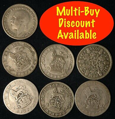 £1.49 • Buy Sixpence 1921  -  1936 George V Silver Choose Your Date Lucky Weddings Birthday