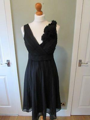 JOHN ROCHA DEBENHAMS Ladies Black Floaty Party Dress Silk Trim Size 10 VGC • 14.99£