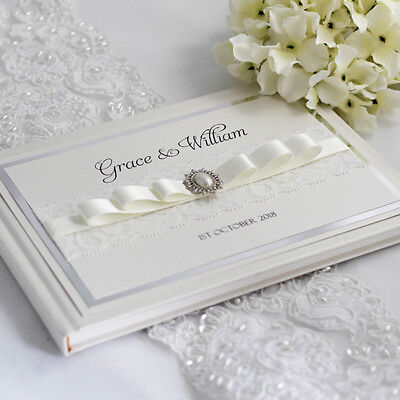 Grace - Personalised & Boxed 8  X 10  Vintage Lace & Pearl Wedding Guest Book  • 37£